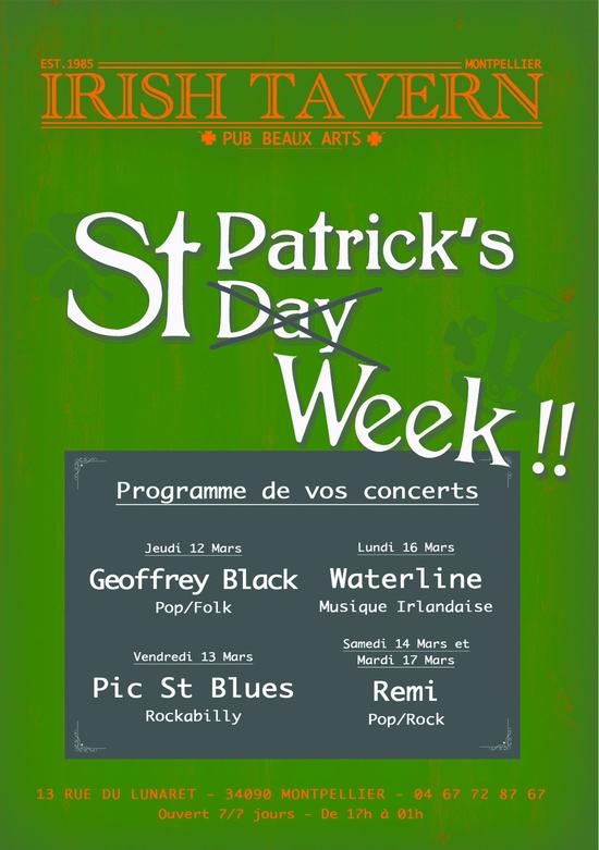 concert saint patrick 39 s week irish tavern montpellier 34090 sortir montpellier le. Black Bedroom Furniture Sets. Home Design Ideas